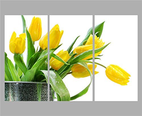 Melody Art - New 3Panels/sets Wall Art Oil Painting on Canvas Green Spring Flowers Yellow Tulip Pictures for Modern Home Decoration and for Housewarming Gift, 30x60cm ( Wooden Framed, Ready to Hang)