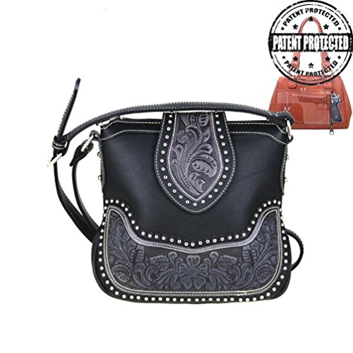 Montana West Ladies Concealed Gun Messenger Purse Tooled Genuine Leather Black