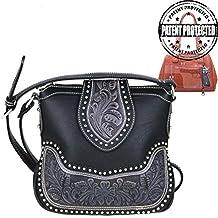 Montana West Ladies Concealed Gun Messenger Purse Tooled Genuine Leather