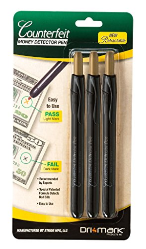 Drimark Counterfeit Detector Pen, 3 Pack (351RET3B)