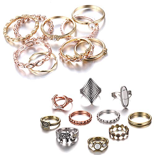 - RINHOO FRIENDSHIP 10PCS Bohemian Retro Vintage Crystal Joint Knuckle Ring Sets Finger Rings (Gold+ Boho)