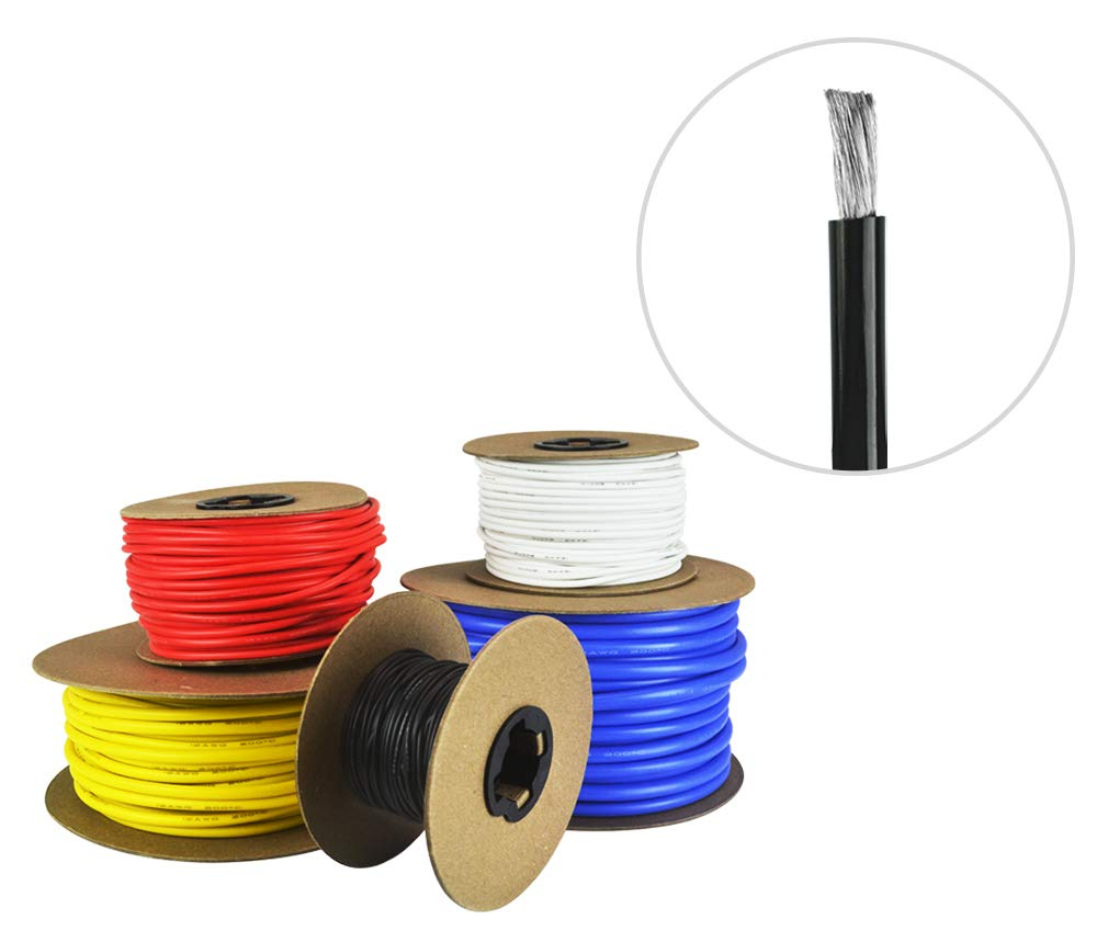 6 AWG Gauge Silicone Wire - Fine Strand Tinned Copper - 50 Feet Black by Common Sense Wire
