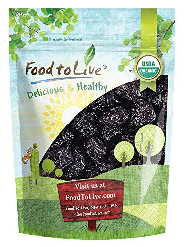Organic Pitted Prunes  Dried California Plums, Non-GMO, Kosher, Unsulfured, Unsweetened, Bulk (by Food to Live) (2 Pounds)