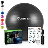 URBNFit Exercise Ball (75 cm) for Stability & Yoga - Workout Guide Incuded - Professional Quality (Black)