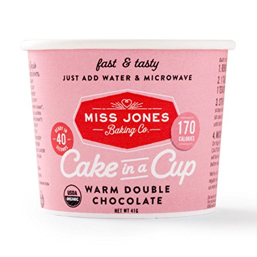Miss Jones Baking Organic Cake In A Cup, Warm Double Chocolate (Pack of 8)