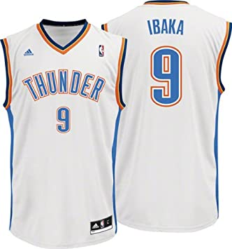 Adidas Camiseta de Baloncesto NBA Oklahoma City Thunder Ibaka 9 Color Blanco l50838 Talla S