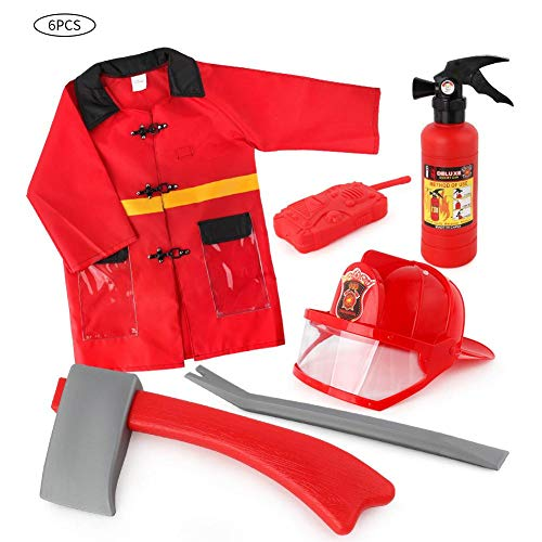 6 PCS Kids Fireman Costume Set,Girls Boys Firefighter Cosplay Dress Up Set Firefighter Role Play Costume Accessories for Children
