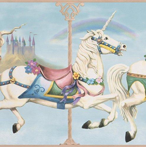(Beautiful Unicorn White Horses Wallpaper Border Retro Design, Roll 15' x 9