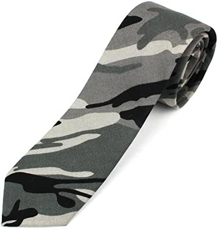 Men's Cotton Skinny Necktie Camouflage Pattern - 2 1/2