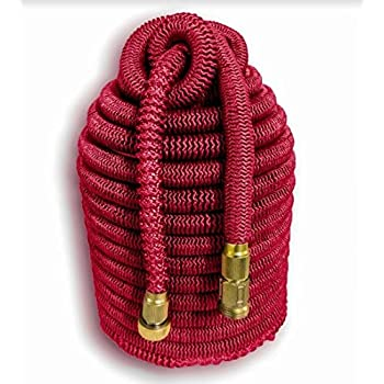 """Tuff! Hose Ruby Edition. 100' Expandable Hose. The Toughest, Longest Lasting Expanding Hose on the Planet with 3/4"""" Solid Brass Fitting"""