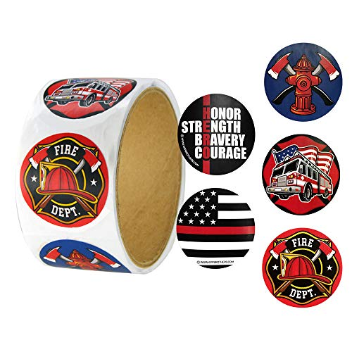 Roll of 100 Assorted Firefighter Stickers