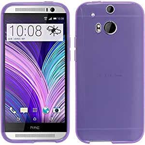 Silicone Case for HTC One M8 - transparent purple - Cover PhoneNatic + protective foils