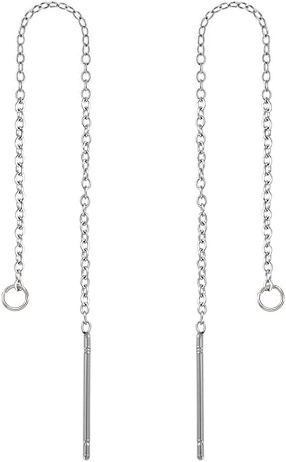 Stainless steel chain ear thread with closed ring Hypoallergenic 5 pairs