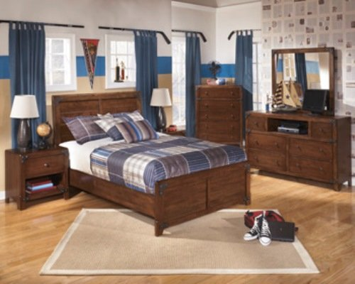 Ashley Furniture Signature Design - Delburne Dresser - 6 Drawers and 1 Cubby - Casual Youth - Medium Brown