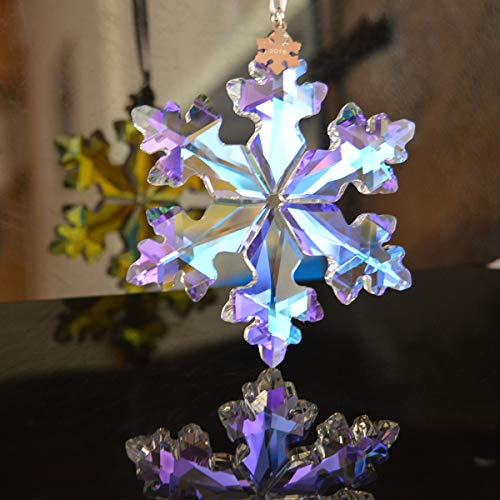 Snowflake Glass Christmas Ornaments - XIANGBAN 25th Anniversary Crystal Snowflake Pendant Christmas Decoration Festival Charm Gift