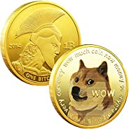 1oz Gold Dogecoin Commemorative Coin Gold Plated Doge Coin 2021 Limited Edition Collectible Coin with Protecti