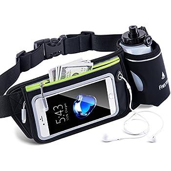 FREETOO Hydration Running Belt with Water Bottle (1X BPA Free 10oz) Adjustable Waist Pack Fits for 6 6S 6 Plus 7 7S / Plus &Smartphones W Touchscreen, Men & Women Fuel Belt-Black