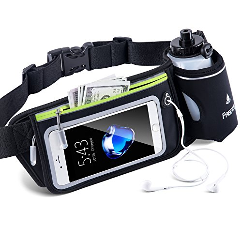 FREETOO Hydration Running Belt with Water Bottle (1X BPA Free 10oz) Adjustable Waist Pack Fits for 6 6S 6 Plus 7 7S / Plus &Smartphones W Touchscreen, Men & Women Fuel Belt-Black