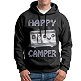 Obachi Happy Camper Smiley Trailer Men's Long Sleeve Pullover Hooded Sweatshirt Black Size M