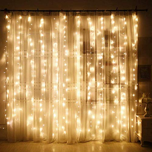 LoveNite Curtain String Lights 300 LED Window String Fairy Lights USB Power with Remote for Christmas Halloween Wedding Party Indoor Outdoor Home Decor98x98ft Warm White
