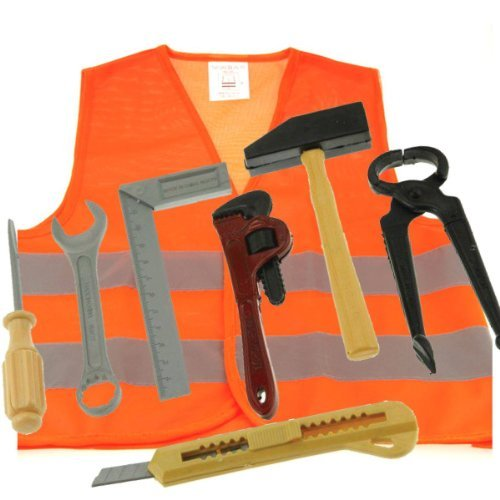 Bob The Builder Costume For Adults (Toy Tool Set - Plus Large Orange Reflective Safety Vest)
