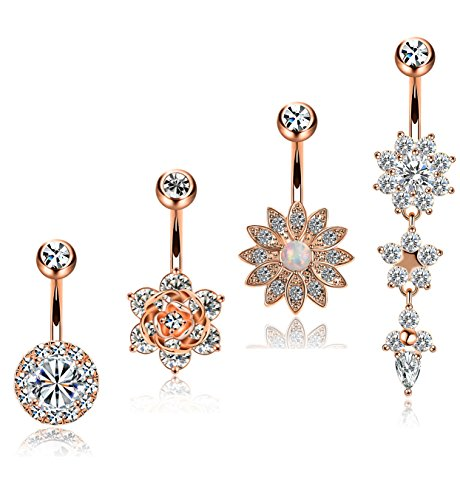 YOVORO 4PCS 14G 316L Stainless Steel Womens Belly Button Rings Navel Rings Flower CZ Dangle Barbell Body Piercing - Dangle Belly Flower Ring
