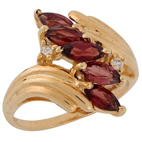 14k Gold Ring Natural Garnet (14k Yellow Gold Natural Garnet and Diamond Elegant Bypass Style Ladies Ring)