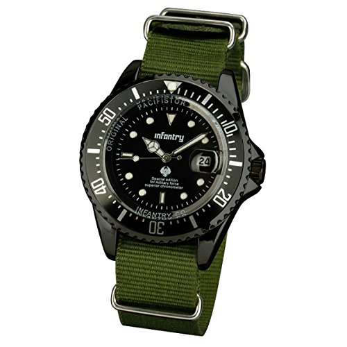 INFANTRY Mens Date Analog Wrist Watch Military Army Night Vision with Green Nato Nylon Band