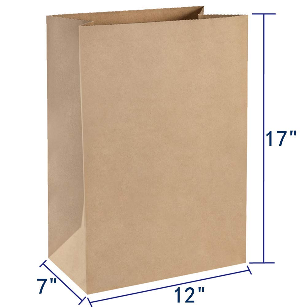 BagDream Grocery Bags 12x7x17 Inches 100Pcs Heavy Duty Kraft Brown Paper Grocery Bags...