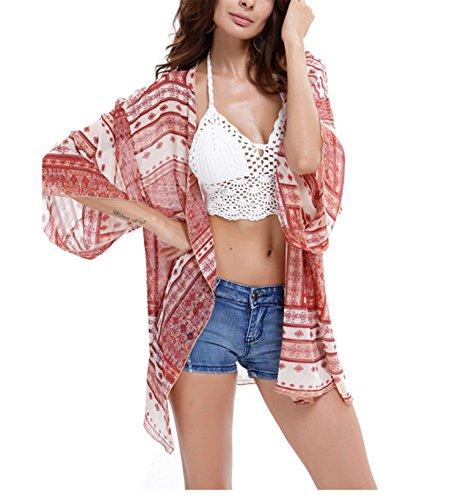 Mid Length Chiffon - Nawoshow Women's Swimwear Bikini Swimsuit Light Floral Print Chiffon Kimono Cover up (Red)