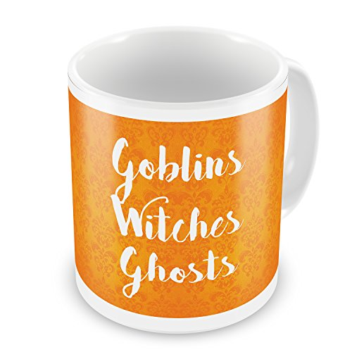 Coffee Mug Goblins Witches Ghosts Halloween Orange Wallpaper - -