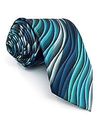 "Shlax&Wing Mens Neckties Extra Long Ripple Blue Multicolored Ties Silk 63"""