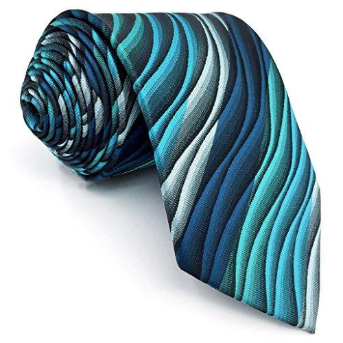 Green Necktie Tie (Shlax&Wing Mens Ties Ripple Blue Multicolored Silk Green Long 57.5