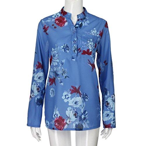 Pull Poche Femmes Blouse Neck V Chemise Tops en Taille Bleu Hauts Longues VJGOAL Bleu Soie Imprimer Plus Floral Manches Mode De La Mousseline RdqpwWwSUf