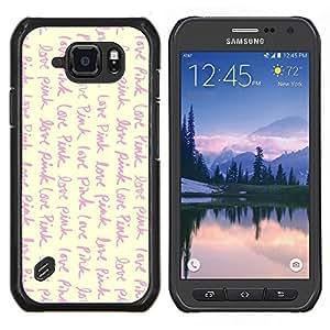 Amor Rosa Vignette Amarillo Escribir texto- Metal de aluminio y de plástico duro Caja del teléfono - Negro - Samsung Galaxy S6 active / SM-G890 (NOT S6)