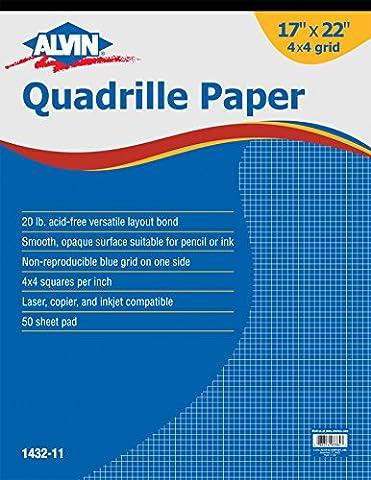 Alvin Quadrille Paper Grid Pad, Size 17