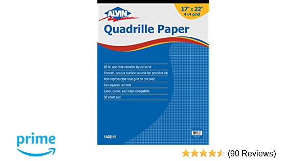 amazoncom alvin quadrille paper grid pad size 17 x 22 inches 1432 11 office products