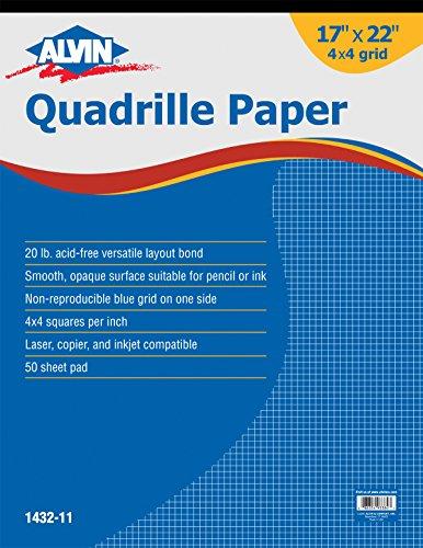 Alvin Quadrille Paper Grid Pad, Size 17 x 22 Inches (1432-11) (Blue Grid Paper)