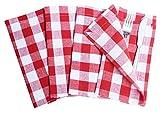 Light & Pro 12 Pack Gingham Check Napkins 18x18 Red-White