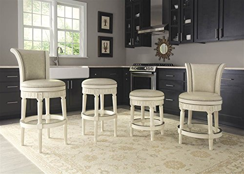 Crenlam Upholstered Swivel Barstool Tall/Antique White/Sleigh Back