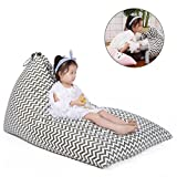 Stuffed Animal Bean Bag Chair for Kids and Adults. Premium Canvas Stuffed Seat - Cover ONLY(Chevron Print Grey 200L/52 Gal)