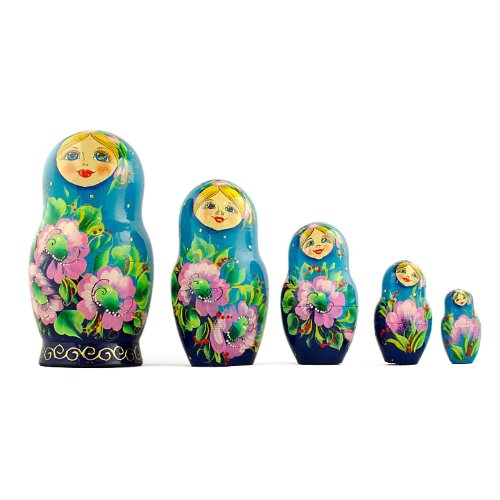 BestPysanky Set of 5 Turquoise Scarf with Poppy Flowers Matryoshka Russian Nesting Dolls 7 Inches