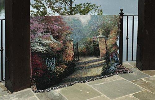 (Manual Weavers Thomas Kinkade Victorian Garden Pictoral Tapestry Throw Blanket 50