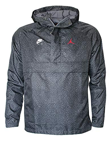 Nike Air Jordan Windbreaker Men's Hooded Jacket Pullover (XXL) Black Grey (Nike Windbreaker Jacket)