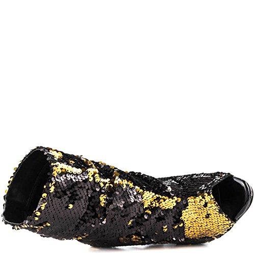 Lauren Lorraine Marlow Sequin Peep Toe High Heel Sexy Dress Bootie Black OzU0kved