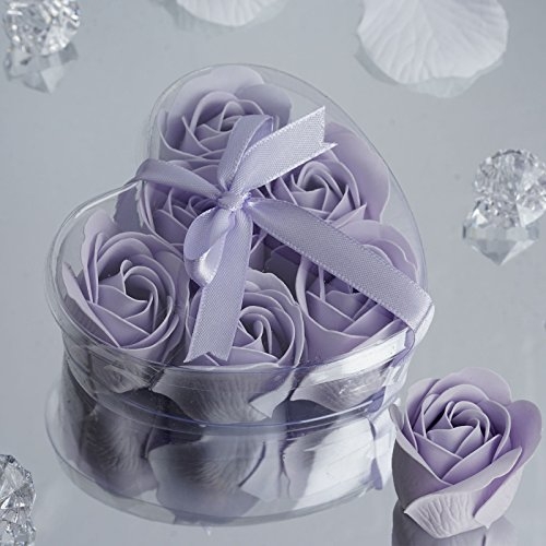 BalsaCircle 50 Lavender Cute Favor Heart Gift Boxes with 6 Rose Petal Soaps for Wedding Party Birthday Gifts Decorations Supplies