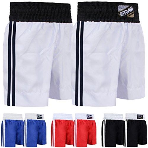 Farabi Pro Boxing Shorts for Boxing Training Punching, Sparring Fitness Gym Clothing Fairtex jiu Jitsu MMA Muay Thai Kickboxing Equipment Trunks (White, S)