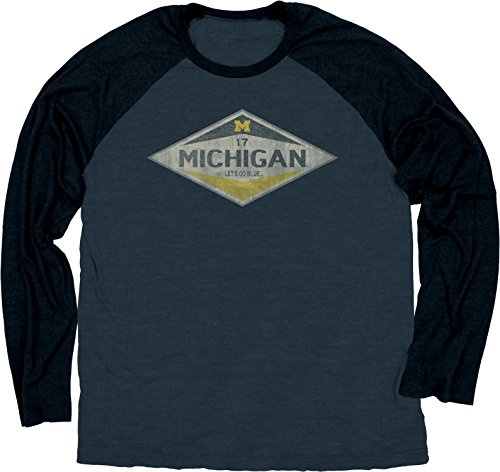 NCAA Michigan Wolverines Ring Spun Long Sleeve Raglan Tee, Large, Indigo - Indigo Classic Wash