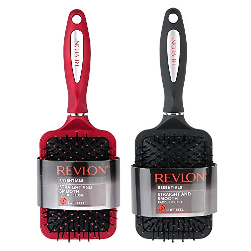 Paddle Hair Brush - Revlon Straight & Smooth, Soft Touch Paddle Hair Brush Set, 2 pc. (Black and Red)