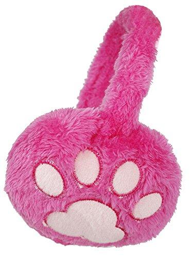 (Simplicity Ladies' Plush Paw Print Winter Earmuffs Ear Warmer,Rose Pink/ Pink,One Size)